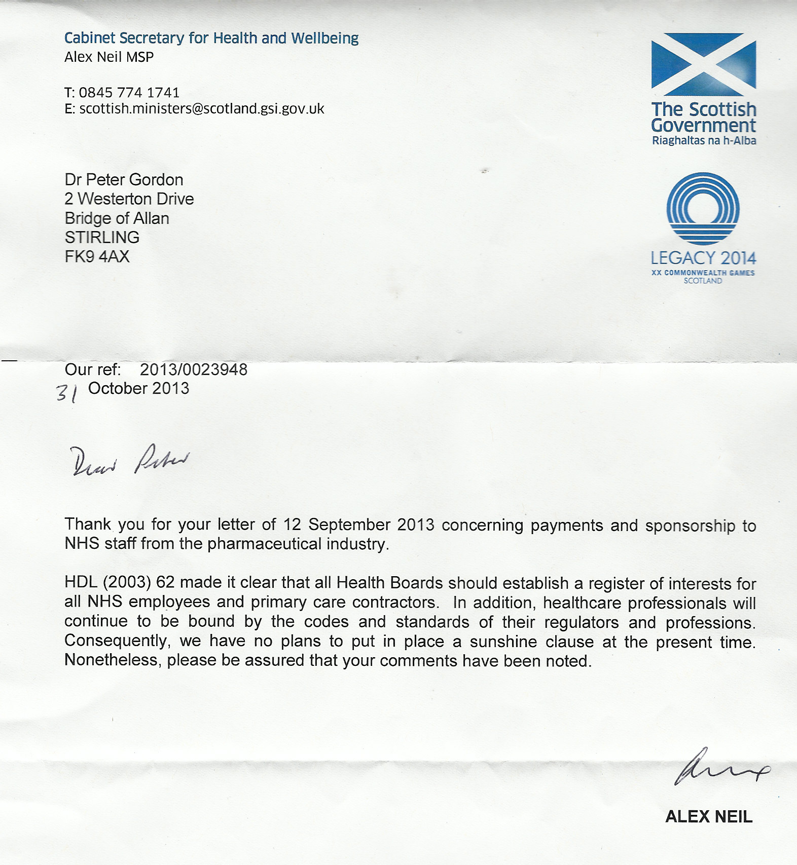 Yours Faithfully Cover Letter Alex Neil On Reg Of Interes