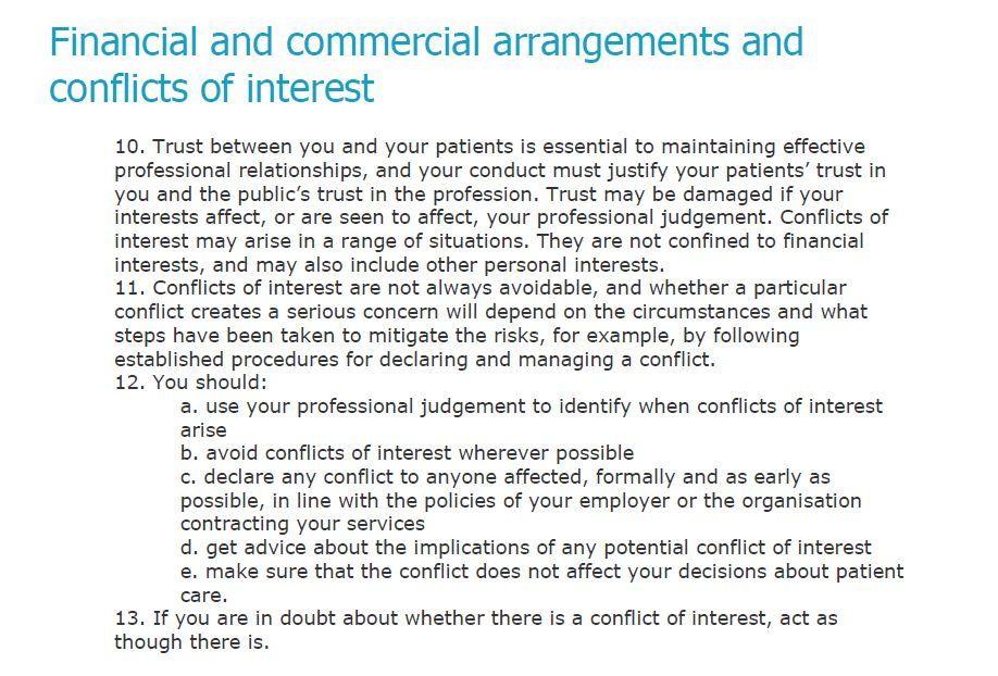 conflict of interest declaration template - the gmc say if you are in doubt about whether there is a