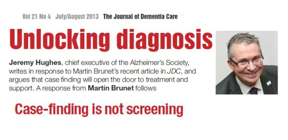 'case-finding is not screening' JH July2013