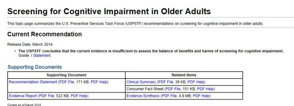 US statement on cognitive Screening March 2014