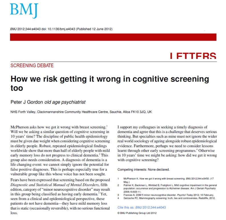 Getting it wrong again, cognitive screening