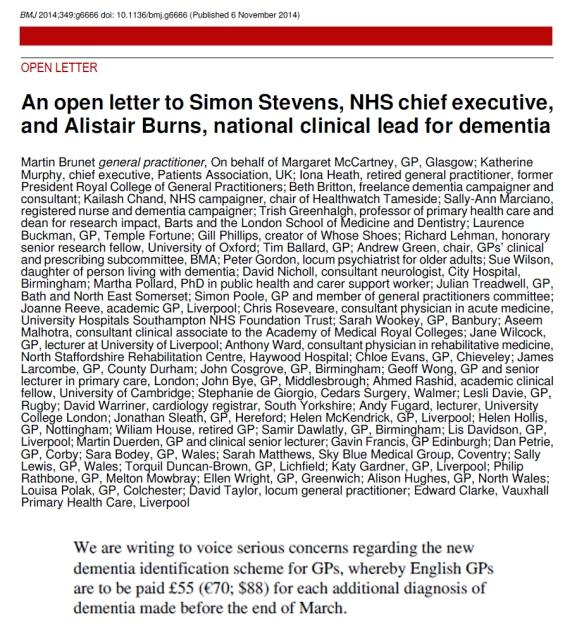 Open letter, cash for dementia