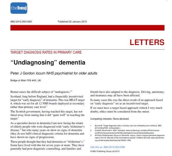 Undiagnosing dementia 20 Jan 2015, BMJ, Peter