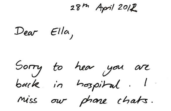 Ella (and I can get the year wrong) Apr 2012