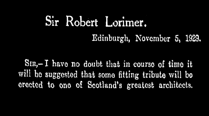 Sir Robert Lorimer title