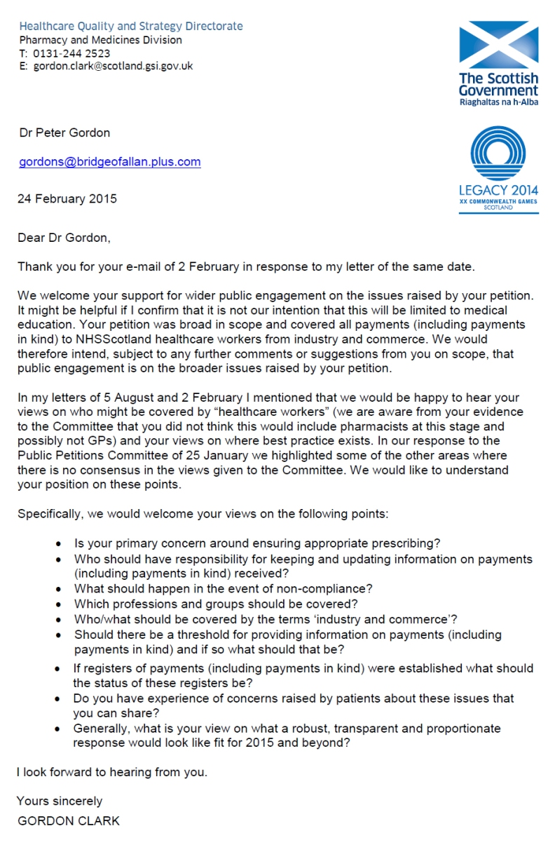 Letter from Gordon Clark, 25 Feb 2015