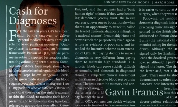 LRB - cash for diagnoses - Gavin Francis
