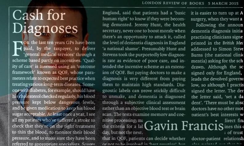 LRB - cash for diagnoses - Gavin Francis