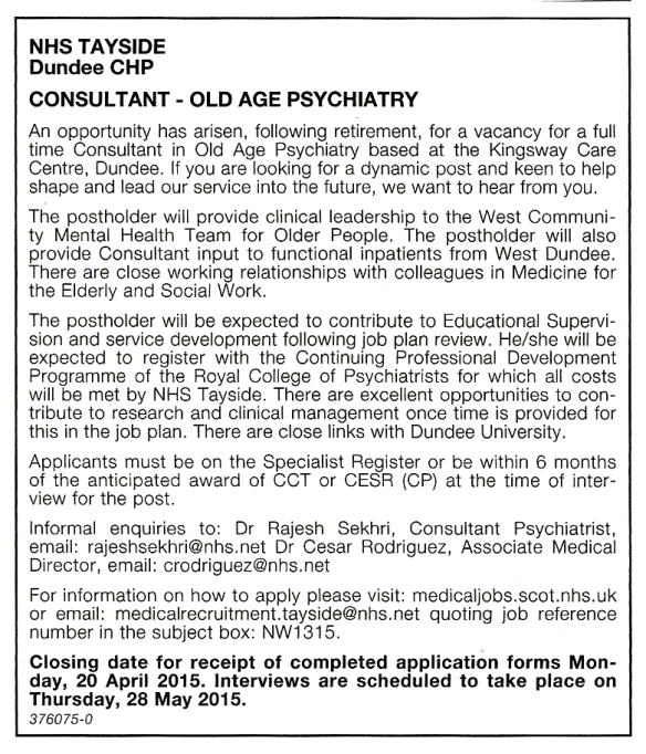 NHS Tayside job advertised in BMJ, 27 March 2015