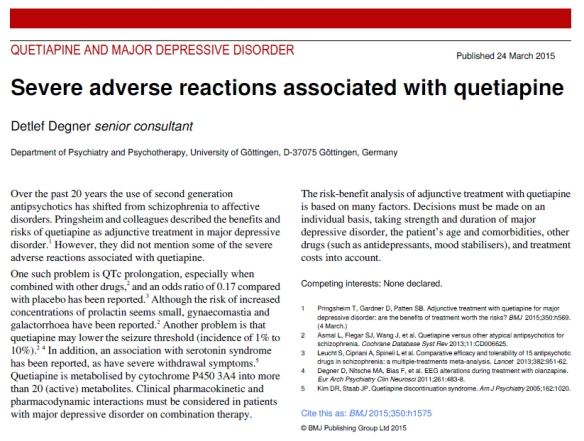 Quetiapine adverse reactions