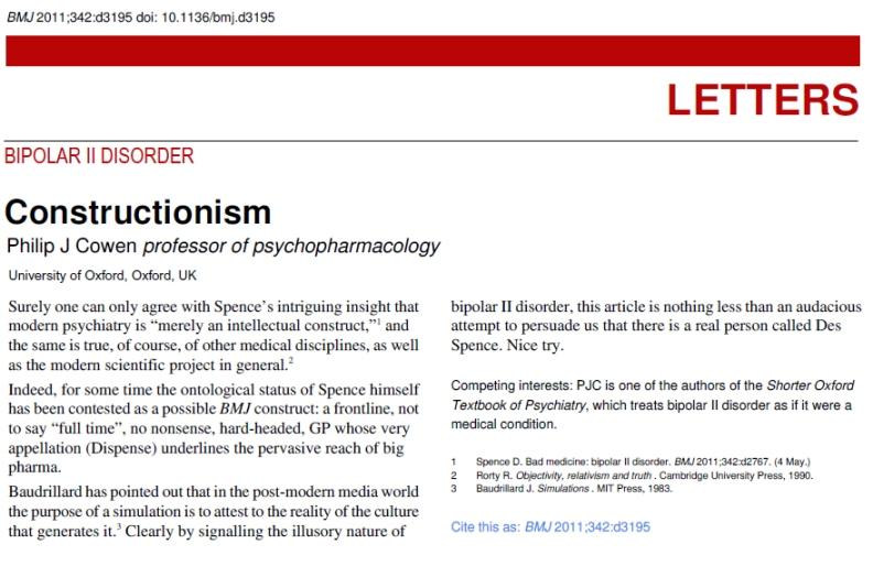 Cowen, P J - Constructionism 24-5-2011