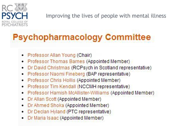 Psychpharmacology Committee