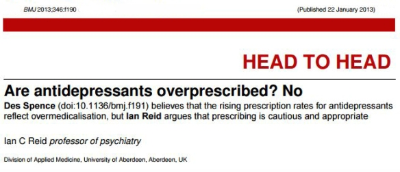 Are antidepressants overprescribed, BMJ, 2013