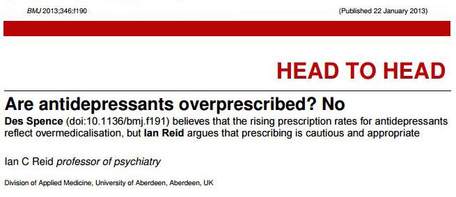 Are antidepressants overprescribed, BMJ, 2013