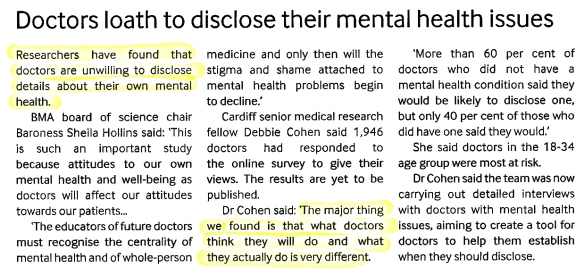Doctors Loath to disclose their mental health issues (May 2015)