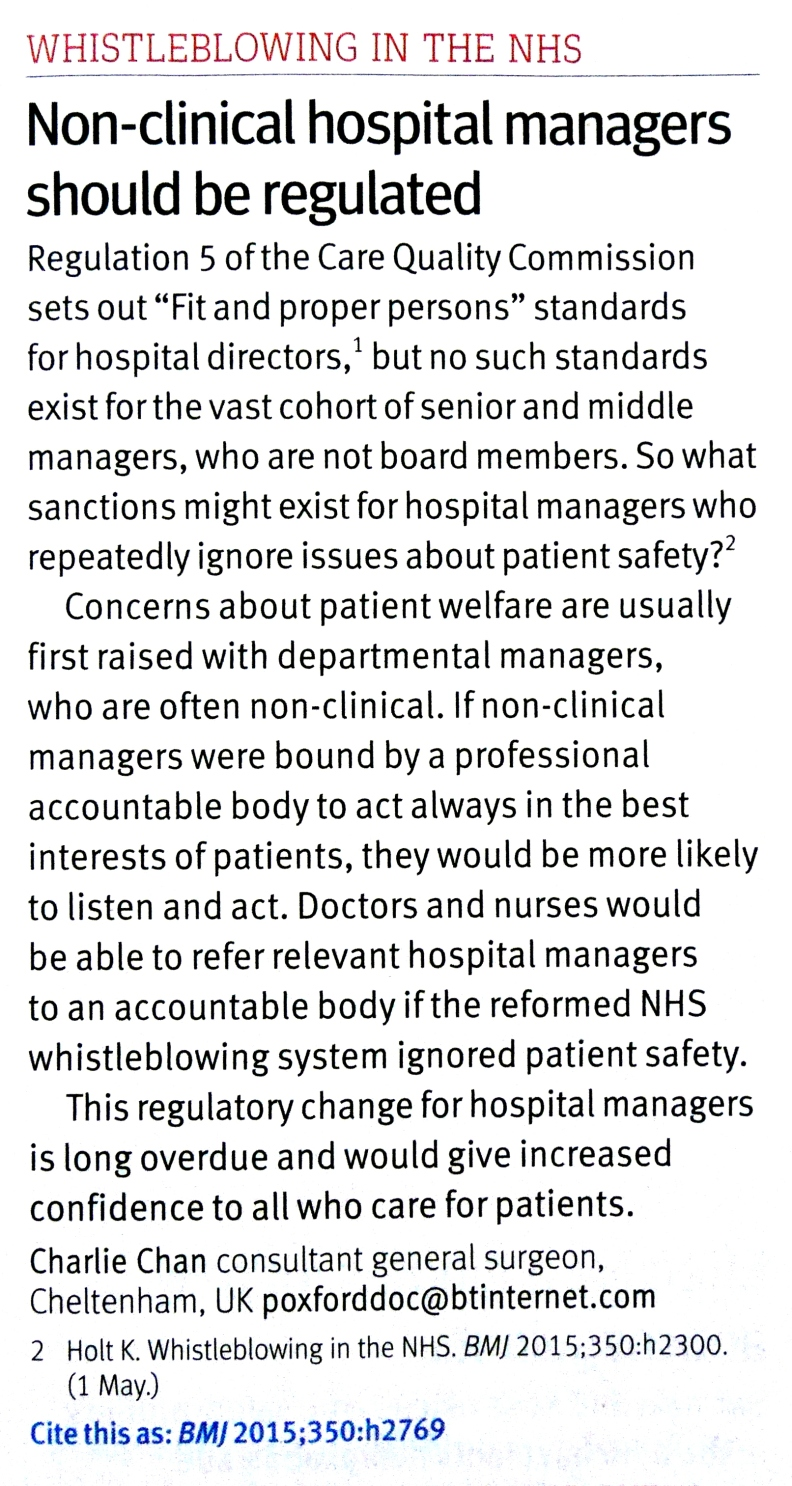 Managers hould be regulated, BMJ, May 2015