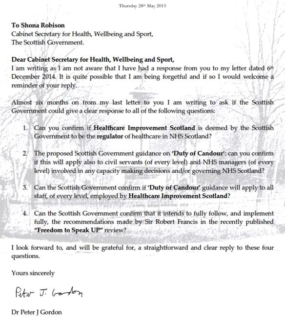 Letter to Shona Robison