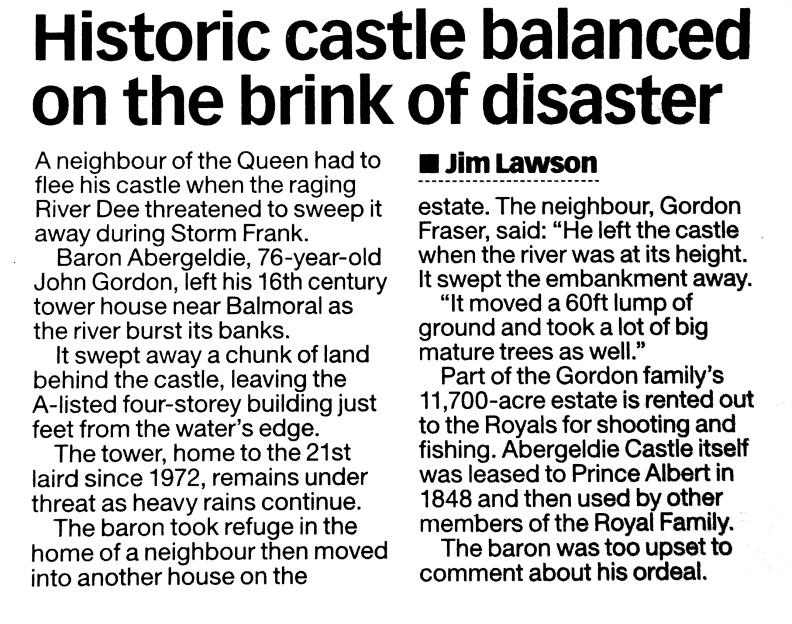 Abergldie castle, Storm Frank 2