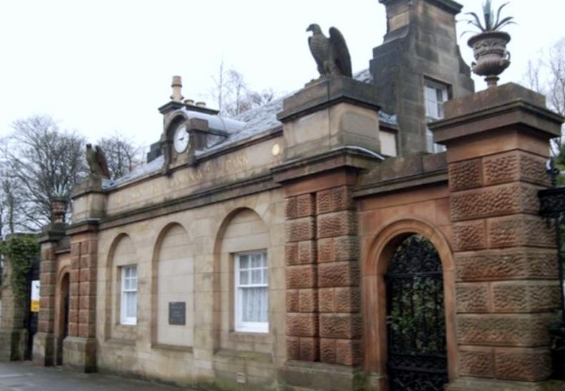 Edinburgh Zoo gate + Falcons from Falcon Hall
