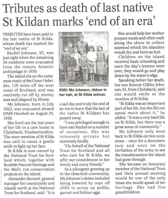 Last native of St Kilda 7 April 2016