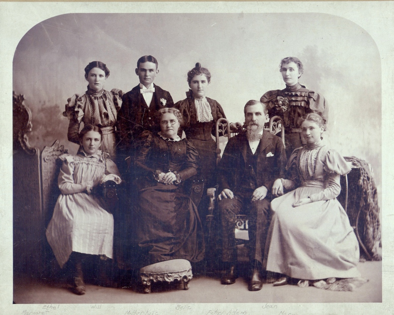 Adam Baird Junior's family-Back row-(L-R) Ethel, Will, Belle, Jean; Front row-Margaret,Katie Malcolm,Adam, and Mary