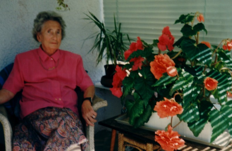 Granny as I remember with her begonias in the Thorburn Road porch