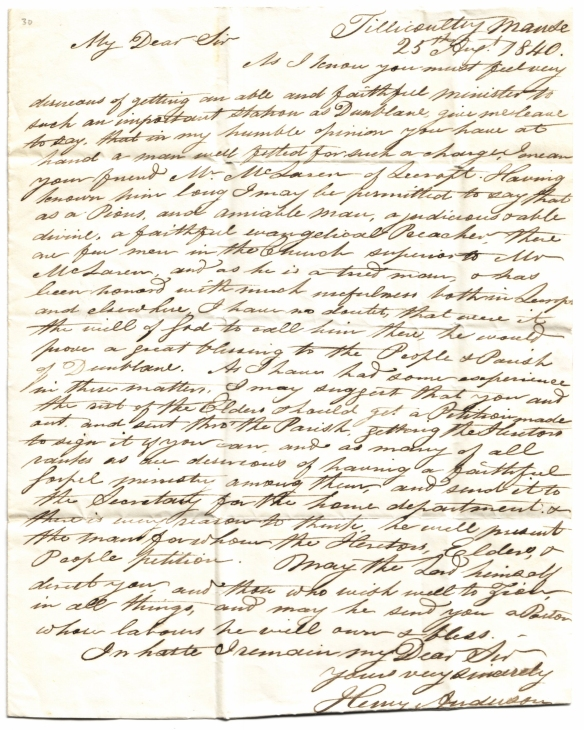 Rev Henry Anderson's letter to Adam Baird