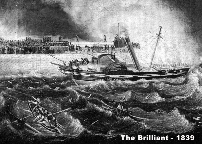 The Brilliant – shipwrecked on the North Pier on the 12th December 1839