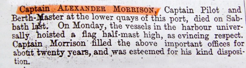 The obituary to Captain Alexander Morrison – died 20th July 1856