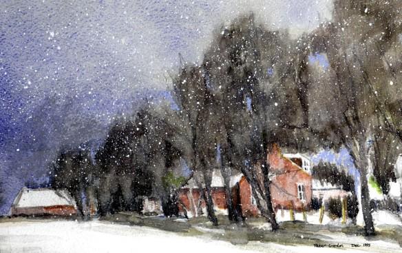 Tillybin in a December snowstorm 1995