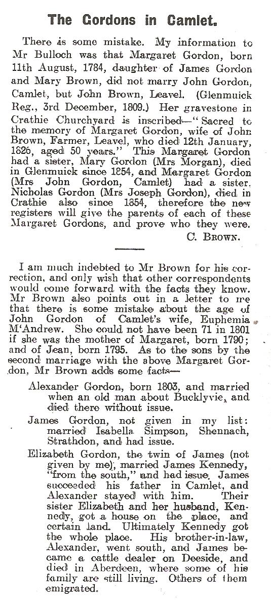 Bulloch informed 1910 by  C. Brown