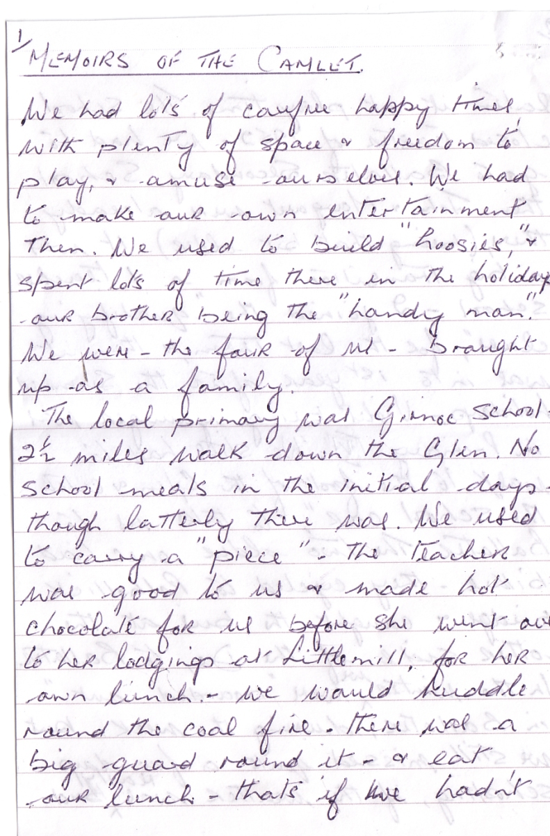 Camlet Memoirs by Edith Kennedy page 1