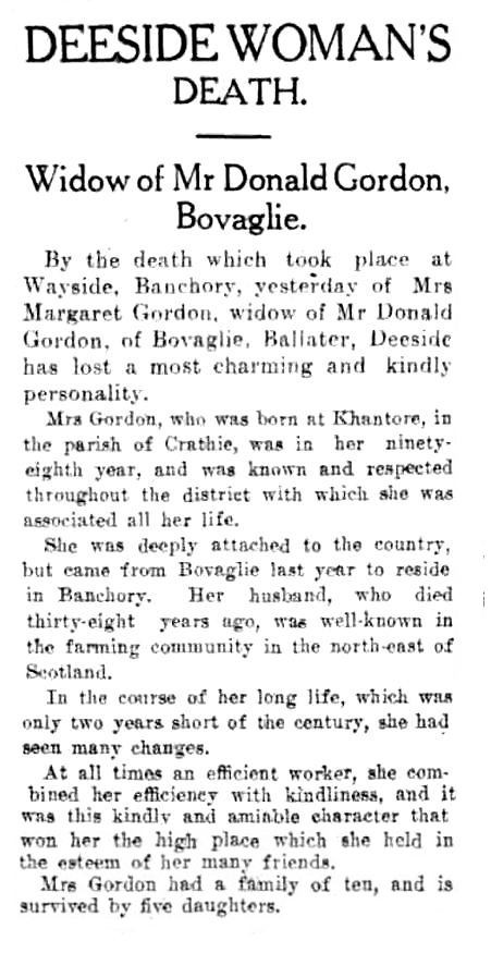 Death of Mrs Donald Gordon of Bovaglie