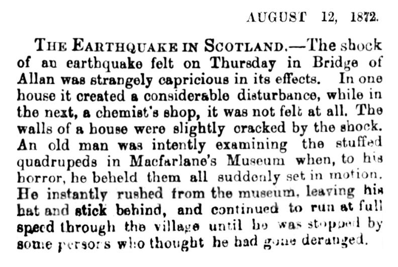 Earthquake in Scotland, 12 Aug 1872
