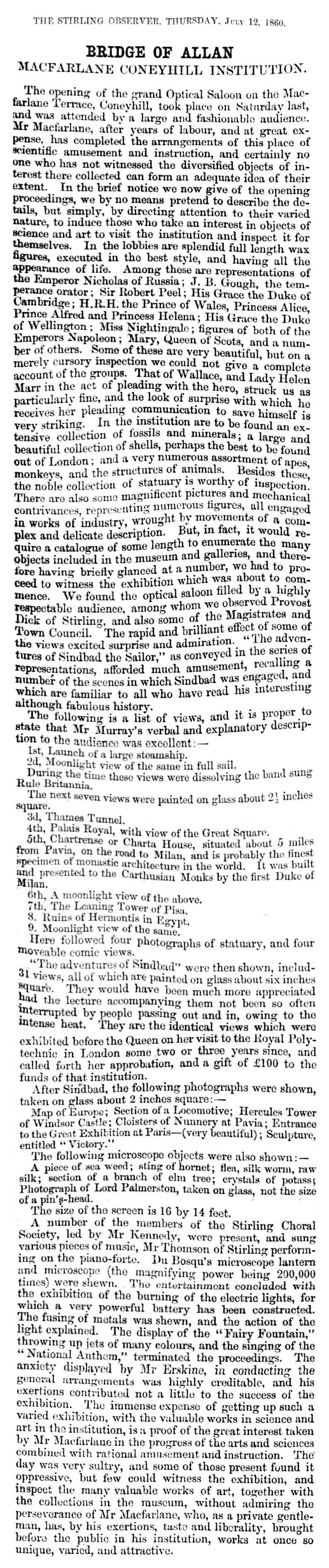 Macfarlane Coneyhill Institution, 1860