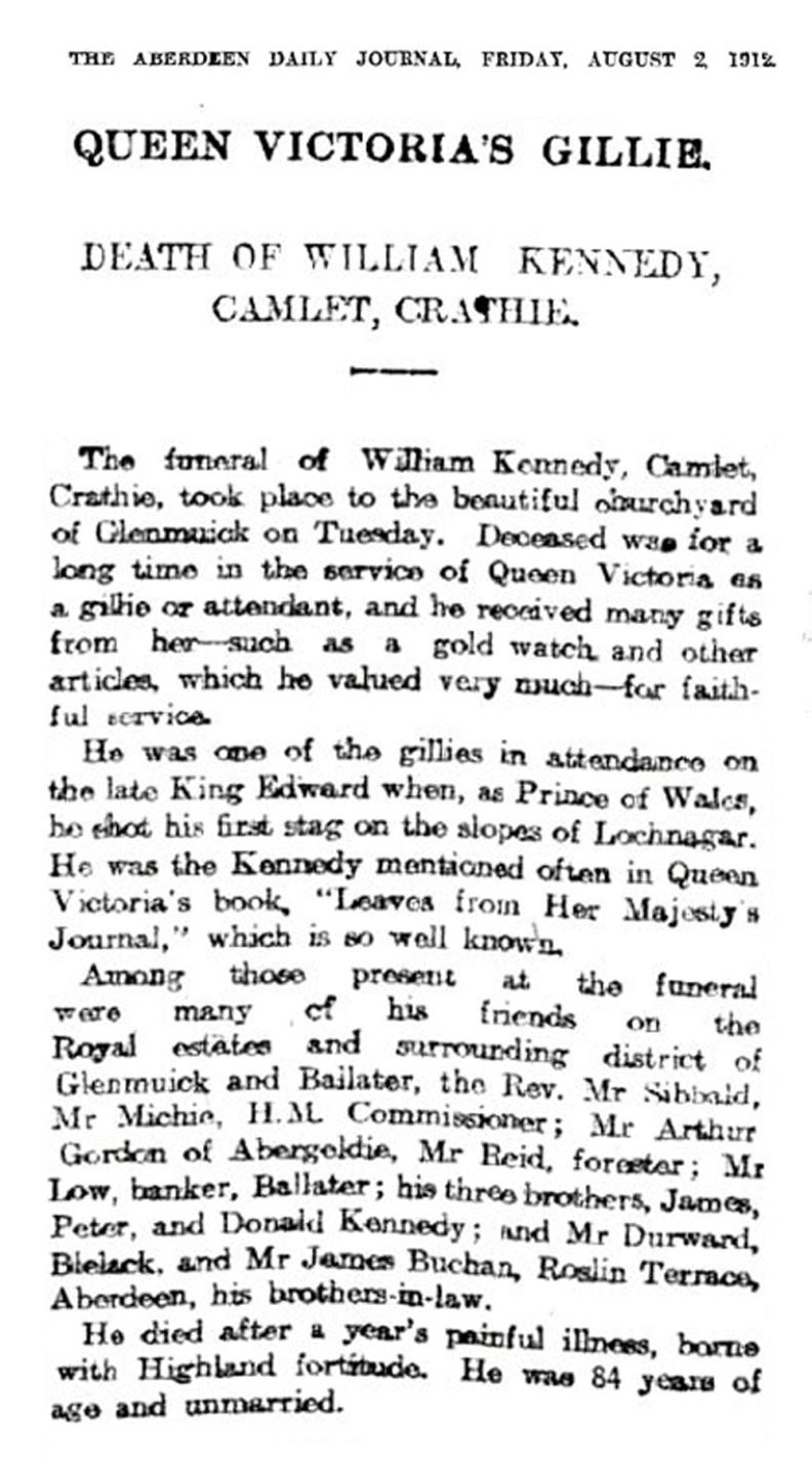 Queen Victoria's Gillie, Wm Kennedy