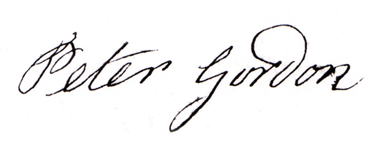 Signature of Peter Gordon born at The Camlet in 1793