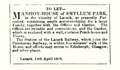 April 1858, To Let, Smyllum Park