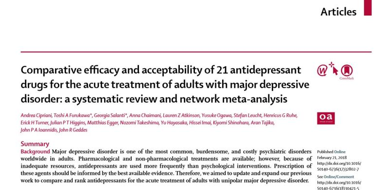 Lancet study on antidepressants, Feb 2018 - title