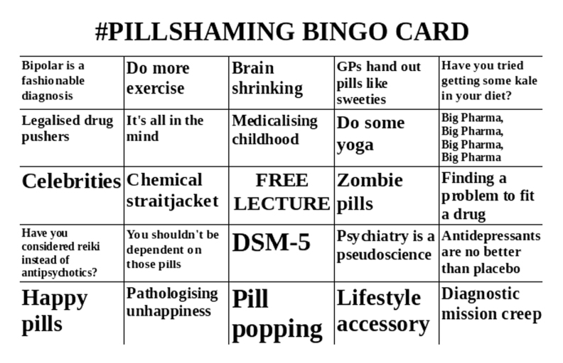Pill-Shaming Bingo card