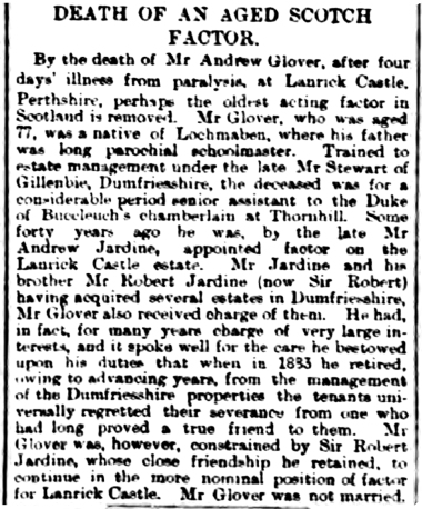 January 1893 - Andrew Glover, Factor for Lanrick (Dillot)