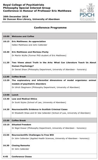 Conference for Professor Eric Matthews 20 Dec 2018