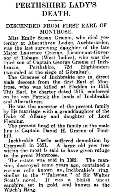 Death of Emily Susan Graeme, 1926