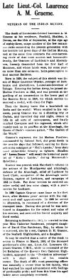 Death of Laurence Graeme, Sept 1917