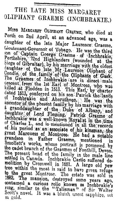 Death of Margaret Oliphant Graeme, 1924