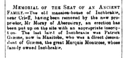 Inchbrakie, Dec 1889