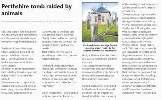Mausoleum Inchbrakie - animals 'raid' it 2013