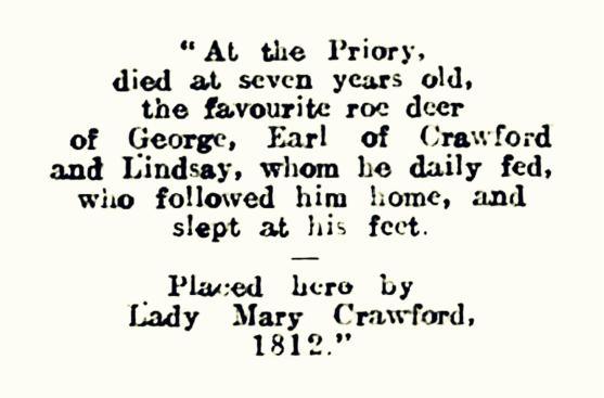 Favourite roe deer, Crawford Priory d1812